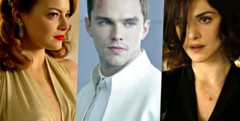 Emma Stone, Nicholas Hoult, and Rachel Weisz in The Favourite