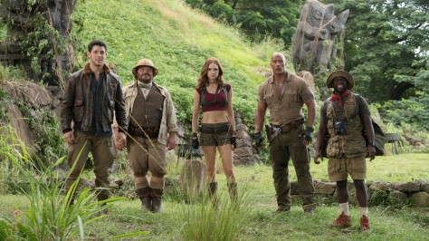 Jack Black, Karen Gillan, Dwayne Johnson, and Kevin Hart in Jumanji: Welcome to the Jungle