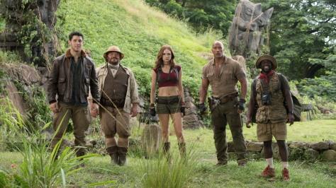 Jack Black, Karen Gillan, Dwayne Johnson, and Kevin Hart in Jumanji: Welcome to the Jungle
