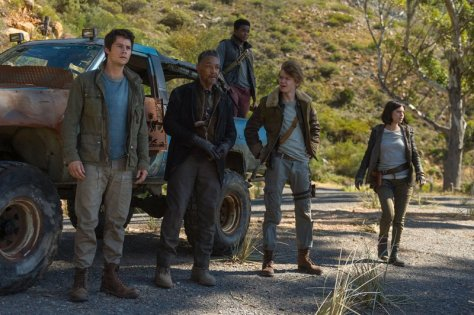 Dylan O'Brien, Giancarlo Esposito, Thomas Brodie-Sangster, and Rosa Salazar in Maze Runner: The Death Cure