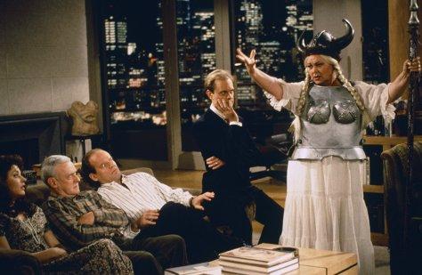 Jane Leeves, John Mahoney, Kelsey Grammer, and David Hyde Pierce in Frasier