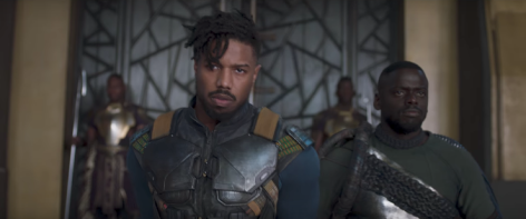 Michael B. Jordan and Daniel Kaluuya in Black Panther