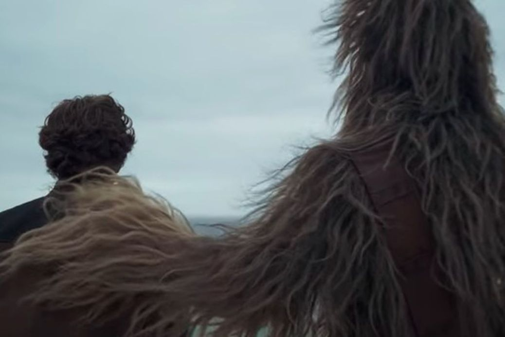 Alden Ehrenreich and Chewbacca in Solo: A Star Wars Story
