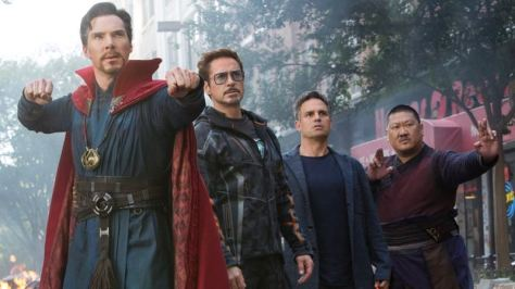 Benedict Cumberbatch, Robert Downey Jr., Mark Ruffalo, and Benedict Wong in Avengers: Infinity War