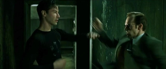 Keanu Reeves and Hugo Weaving in The Matrix