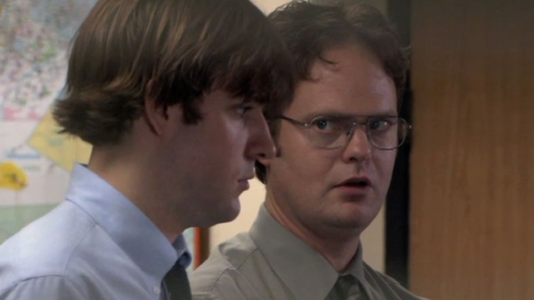John Krasinski and Rainn Wilson in The Office Season 1