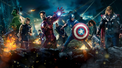 Mark Ruffalo, Jeremy Renner, Robert Downey Jr, Samuel L. Jackson, Chris Evans, Scarlett Johansson, and Chris Hemsworth in The Avengers