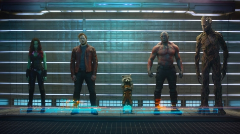 Zoe Saldana, Chris Pratt, Bradley Cooper, Dave Bautista, and Vin Diesel in Guardians of the Galaxy