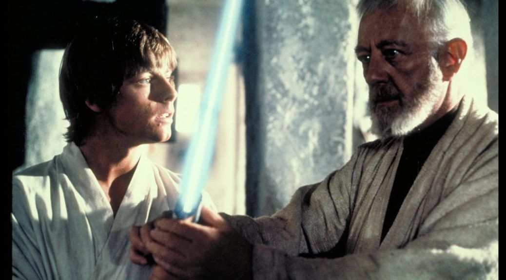 Mark Hamill and Alec Guiness in Star Wars Episode IV: A New Hope