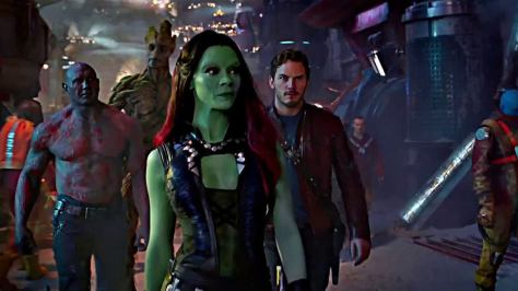 Dave Bautista, Vin Diesel, Zoe Saldana, and Chris Pratt in Guardians of the Galaxy