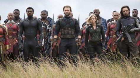 Chadwick Boseman, Chris Evans, Scarlett Johansson, and Sebastian Stan in Avengers: Infinity War