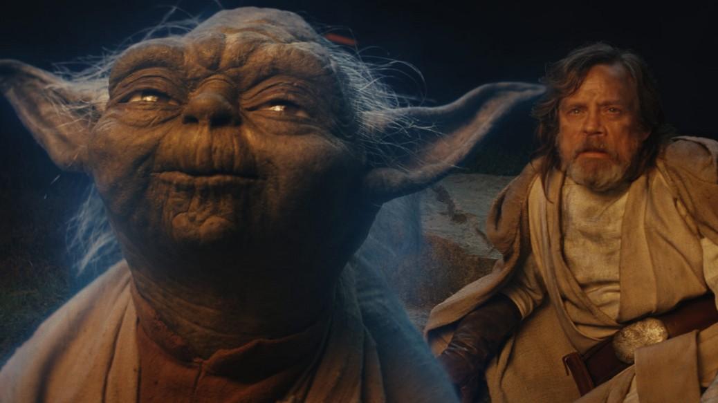Frank Oz and Mark Hamill in Star Wars: The Last Jedi