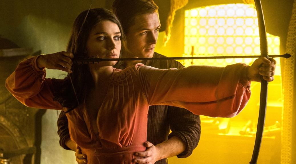 Eve Hewson and Taron Egerton in Robin Hood