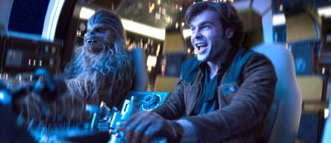 Chewbacca and Alden Ehrenreich in Solo: A Star Wars Story
