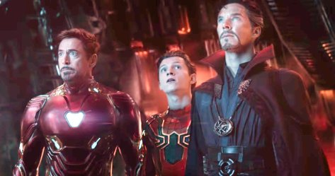 Robert Downey Jr., Tom Holland, and Benedict Cumberbatch in Avengers: Infinity War
