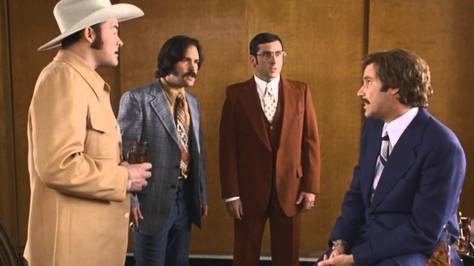 David Koechner, Paul Rudd, Steve Carell, and Will Ferrell in Anchorman: The Legend of Ron Burgundy